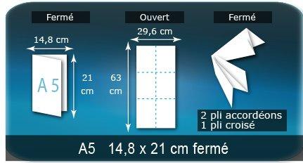 Dépliants / Plaquettes Ouvert 29,6 x 63 cm - Fermé A5  14,8 x 21 cm