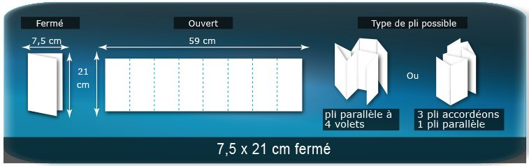 Dépliants / Plaquettes Ouvert 21 x 59 cm - Fermé  7,5 x 21 cm