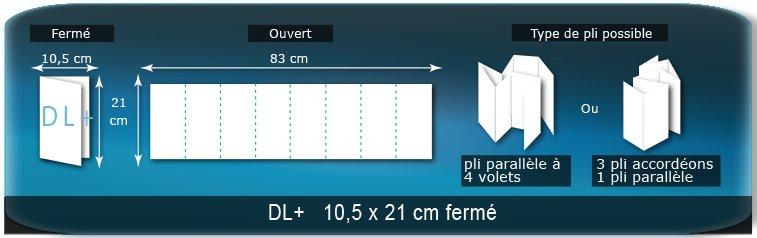 Dépliants / Plaquettes Ouvert 21 x 83 cm - Fermé DL+  10,5 x 21 cm