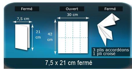 Dépliants / Plaquettes Ouvert 30 x 42 cm - Fermé  7,5 x 21 cm
