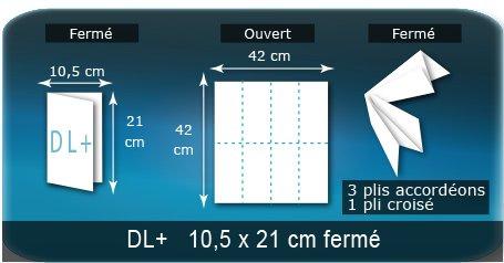 Dépliants / Plaquettes Ouvert 42 x 42 cm - Fermé DL+  10,5 x 21 cm