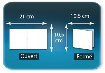 Dépliants / Plaquettes Ouvert 10,5 x 21 cm - Fermé 10,5 x 10,5 cm