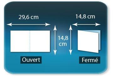 Dépliants / Plaquettes Ouvert 14,8 x 29,6 cm - Fermé 14,8 x 14,8 cm