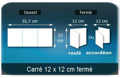 Dépliants / Plaquettes Ouvert 12 x 35,7 cm - Fermé 12 x 12 cm