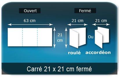Dépliants / Plaquettes Ouvert 21 x 63 cm - Fermé 21 x 21 cm