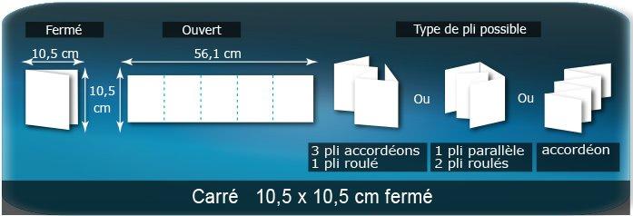 Dépliants / Plaquettes Ouvert 10,5 x 52,5 cm - Fermé 10,5 x 10,5 cm