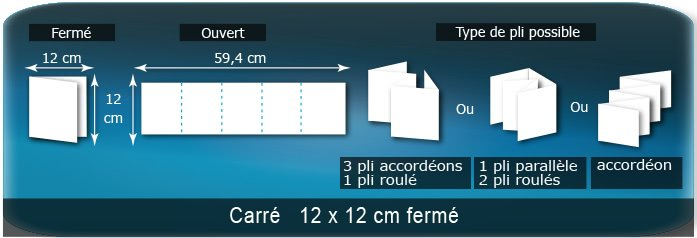 Dépliants / Plaquettes Ouvert 12 x 60 cm - Fermé 12 x 12 cm