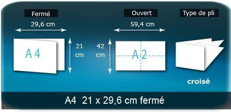 Dépliants / Plaquettes Ouvert 21 x 29,6 cm - Fermé A6 10,5 x 14,8 cm