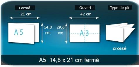 Dépliants / Plaquettes Ouvert 29,6 x 42 cm - Fermé A5 14,8 x 21 cm