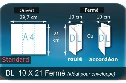 Dépliants / Plaquettes Ouvert A4  21 x 29,7 cm - Fermé DL  10 x 21 cm