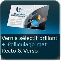 Dépliants / Plaquettes Pelliculage Mat au Recto et Verso + Vernis Sélectif Brillant au Recto et Verso
