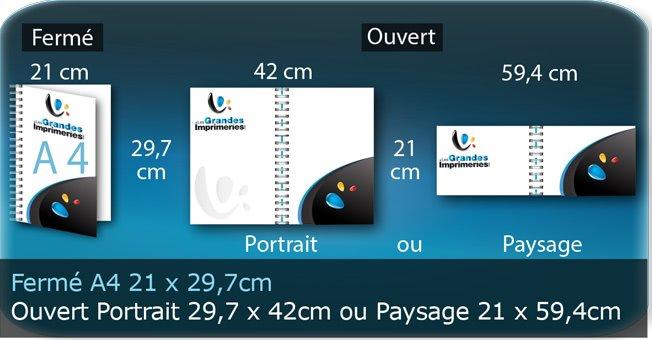 Menus a4 21 X 29,7 Cm Fermé - Ouvert En Portrait 29,7 X 42 Cm ou en paysage 594X210Mm
