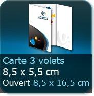 Cartes de visite 3 volets 85 x 55 mm fermé - 165 x 85 ouvert - impression couleur Recto et Verso quadri (livré à plat)