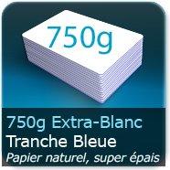 Cartes de correspondance 750g Blanc Pur avec tranche bleu