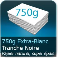 Cartes de correspondance 750g Blanc Pur avec tranche noire