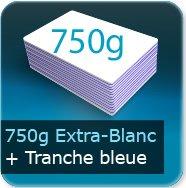 Cartes de visite 750g Blanc Pur avec tranche bleu