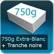 Cartes de visite 750g Extra Blanc avec tranche noire