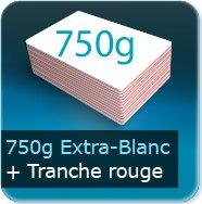 Cartes de visite 750g Blanc Pur avec tranche rouge
