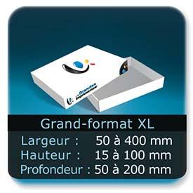 Emballage (Coffret, Boîte, carton, colis et etuis) Largeur de 50 à 400 mm - Hauteur de 15 à 100 mm - Profondeur de 50 à 200 mm