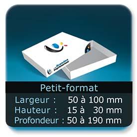 Emballage (Coffret, Boîte, carton, colis et etuis) Largeur de 50 à 100 mm - Hauteur de 15 à 30 mm - Profondeur de 50 à 190 mm