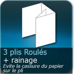 Dépliants / Plaquettes 3 plis roulés + Rainage