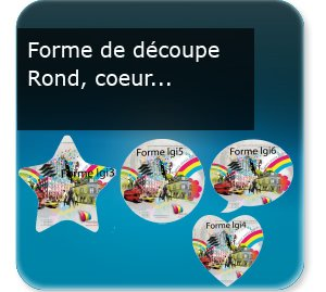 Rond Flyer, tract, prospectus rond Prospectus forme rond, coeur, nuage, etoile, etc