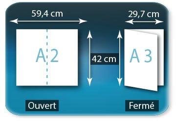 Dépliants / Plaquettes Ouvert A2  42 x 59,4 cm - Fermé A3  29,7 X 42 cm