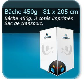 Kakémono / roll up Impression couleur - triple faces - bache 450g - 90 x 90 x 215 cm - avec sac de transport