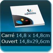 Livre dos cousu Fermé carré 14,8 x 14,8 cm - Ouvert 29,6 x 14,8 cm