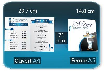 Menus Menu restaurant 2 volets  - A5 148x210mm fermé - A4 297x210mm ouvert - 1 pli (rainage) - impression recto verso