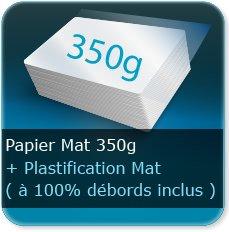 Menus 350g mat + plastification mat 100% débords inclus (attention la plastifacation a tendance à se décoller au niveau des plis)