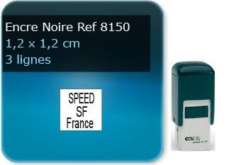Tampon personnalisé Rectangle 12 x 12 mm - 3 lignes max spécial pour cheque (ref8150) - encre noir - livré avec 1 recharge (ref8260)