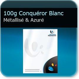 Lettres à en tête 100g Conquéror métallisé Blanc Azuré - Compatible imprimante laser & jet d'encre