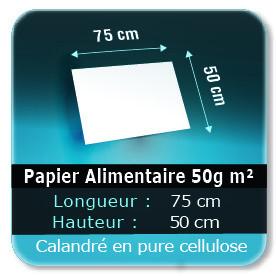 Emballage (Coffret, Boîte, carton, colis et etuis) Papier de 75 x 50 cm - 50g m² -alimentaire calandré en pure cellulose - Sans agent de blanchiment - encres à base d'eau