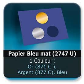 Emballage (Coffret, Boîte, carton, colis et etuis) Papier  Bleu mat (2747 U) - Impression Recto - pantone Or (871 C ) ou Argent (877 C)