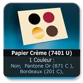 Emballage (Coffret, Boîte, carton, colis et etuis) Papier  Crème mat (7401 U) - Impression Recto - Noir ou pantone Or (871 C ) ou Bordeaux (201 C) ou Brun (476 C)
