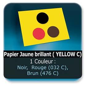 Emballage (Coffret, Boîte, carton, colis et etuis) Papier  Jaune Brillant ( YELLOW C) - Impression Recto - Noir ou Pantone Rouge (032C) ou Brun (476 C)