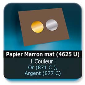 Emballage (Coffret, Boîte, carton, colis et etuis) Papier  Marron mat (4625 U) - Impression Recto - pantone Or (871 C ) ou Argent (877 C)
