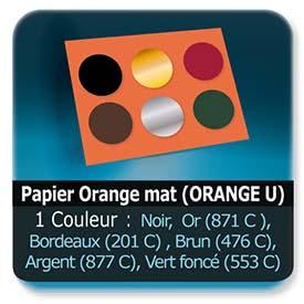 Emballage (Coffret, Boîte, carton, colis et etuis) Papier  Orange mat (ORANGE U) - Impression Recto - Noir ou pantone Or (871 C ) ou Bordeaux (201 C) ou Brun (476 C) ou Argent (877 C) ou Bordeaux (201 C) ou Vert foncé (553 C)