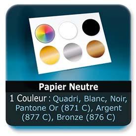 Emballage (Coffret, Boîte, carton, colis et etuis) Papier  Neutre - Impression Recto - 1 couleur quadri au choix ou Blanc ou Noir ou Pantone Or (871 C) ou Argent (877 C) ou Bronze (876 C)