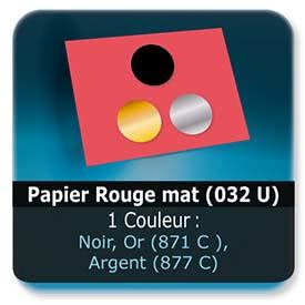 Emballage (Coffret, Boîte, carton, colis et etuis) Papier  Rouge mat (032 U) - Impression Recto - Noir ou pantone Or (871 C ) ou Argent (877 C)