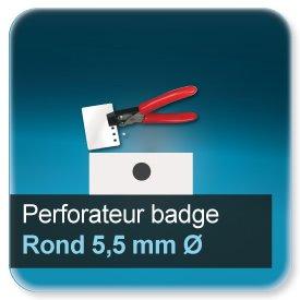 Badge Modèle pour perforation trou rond de 5,5mm de dimètre N9221