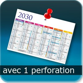 Calendriers Une perforation