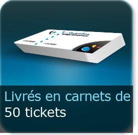 Carnets de tickets en carnet de 50 tickets (la quantité du site exprime le nombre de ticket pas le nombre de carnet)