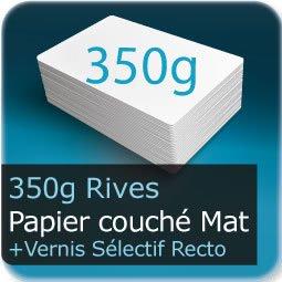 Cartes postales 350g couché mat et Vernis Sélectif brillant recto