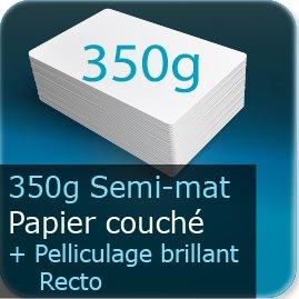 Cartes postales 350g semi mat + pell. brillant R°