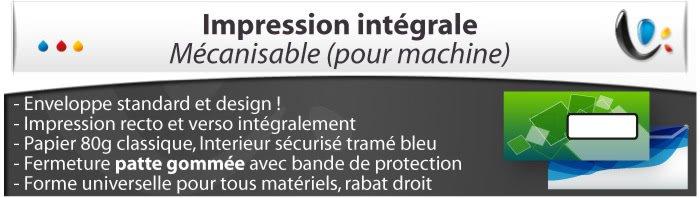 enveloppe personnalisée Mecanisable Spéciale impression intégrale, , Fermeture Patte gommée, Forme universelle pour tous matériels