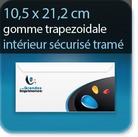 Enveloppes 105X212 mm Fermeture Patte gommée trapézoïdale, Interieur sécurisé tramé bleu