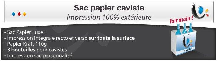 Sac Publicitaire Sac Papier - Caviste pour bouteilles Impression totale éxterieur