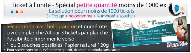 Carnets de tickets Ticket securisé avec hologramme (livrée en planche A4)